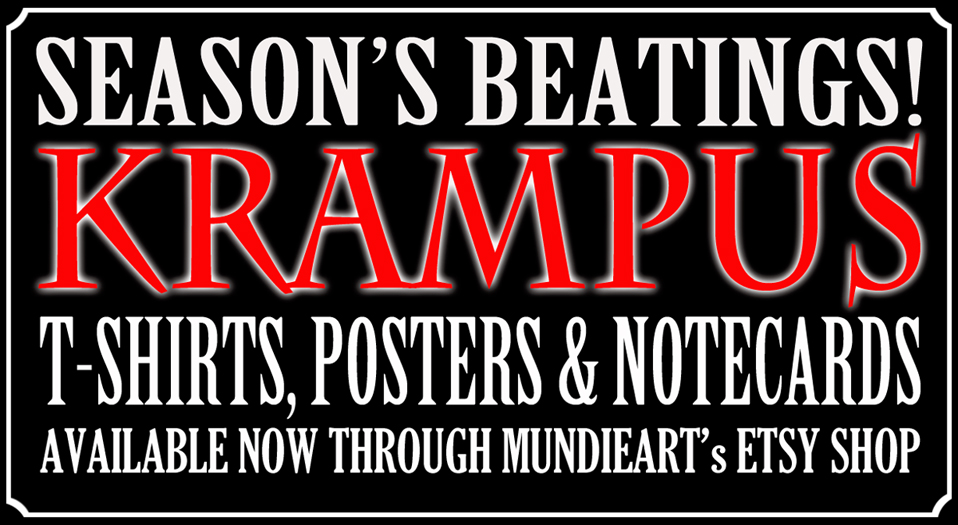 Season's beatings! Krampus t-shirts, posters, and notecards available from MundieArt's Etsy shop
